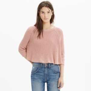 Madewell Swing Crop Sweater in Pink
